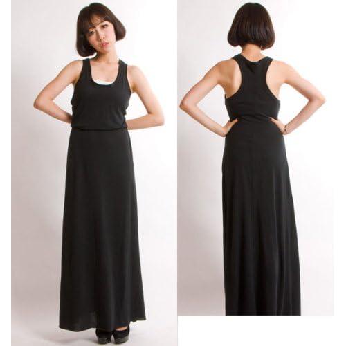 【オルタナティブ アパレル】マキシ ワンピース Alternative Apparel Eco Jersey Maxi Dress レディース Mサイズ ECO TRUE BLACK
