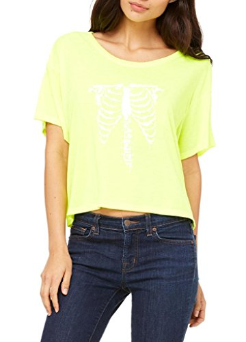 Artix Halloween White Skeleton Costumes Couples Best Friend Gifts Halloween Masks Women's Flowy Boxy T-Shirt Clothes Large Neon (Yellow Cat Costume Contact Lenses)