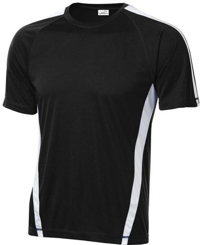 Joe's USA Men's Athletic All Sport Training T-Shirt ,Black/ White ,Large