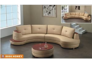 Amazoncom american eagle furniture 8090 honey bonded for Curved sectional sofa amazon