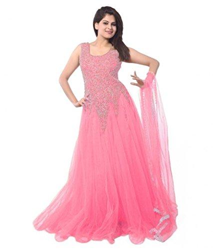 Janasya-Womens-Pink-Net-Semi-Stitched-Dress-JNE-DR-0900-PINK