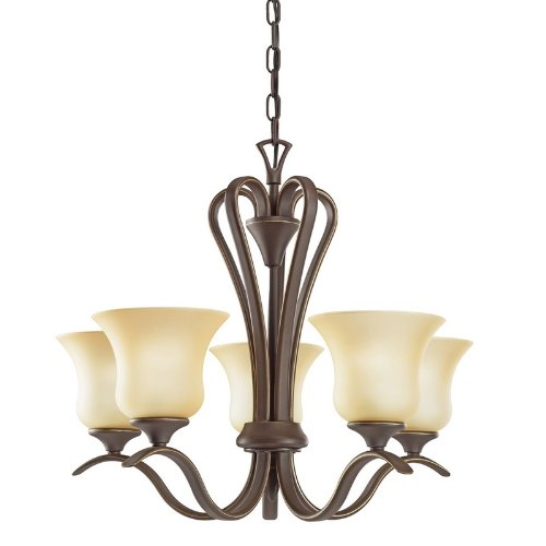 B001EGPG6W Kichler Lighting 2085OZ 5 Light Wedgeport UpLight Chandelier, Olde Bronze