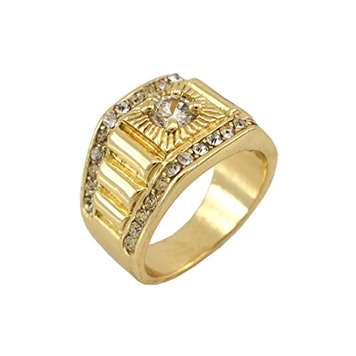 Hip-Hop Gold Tone Techmaster Men'S Ring Size 7