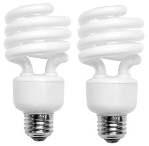 TCP 68919DL2 CFL Mini Spring A Lamp – 75 Watt Equivalent (only 19W used) Daylight (5000K) Spiral Light Bulb – 2 pack