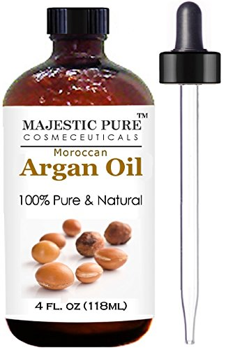 Moroccan Argan Oil for Hair and Skin From Majestic Pure, 100% Natural, Organic, Cold Pressed & Triple Extra Virgin, 4 Oz, Experience the Grade 1 Argan Oil Now! (Argan Oil Moroccan compare prices)