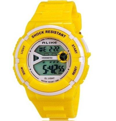 True Alike A14103 Kid'S Multi-Functional 50M Waterproof Sports Led Electronic Wrist Watch With Stopwatch, Night Light & Alarm Clock Function (Yellow)