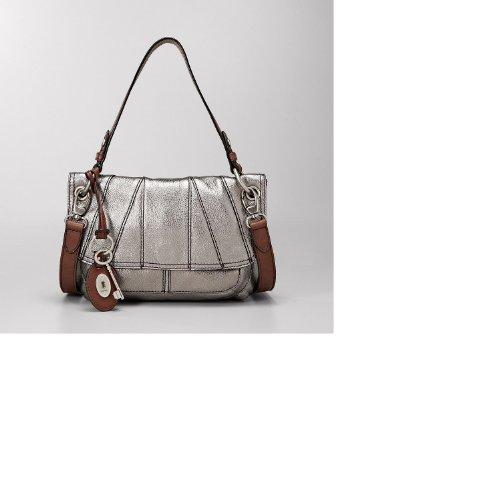 Preise vergleichen FOSSIL Damen Handtasche Umhängetasche aus silberfarbenem Leder 'Maddox Conv Flap' - ZB4532040