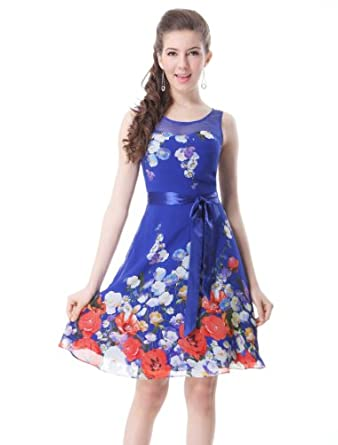 HE03692SB06, Sapphire Blue, 4US, Ever Pretty Floral Summer Dresses For Juniors 03692