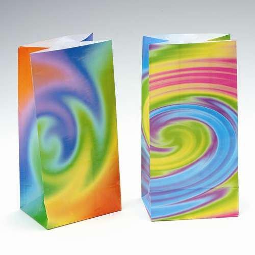 12 Tie Dye Paper Goodie Bags