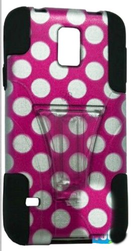 Mylife (Tm) Deep Coal Black And Pink Polka Dot Design - Neo Hybrid Series (Built In Kickstand) 2 Piece + 2 Layer Case For New Galaxy S5 (5G) Smartphone By Samsung (External Hard Fit Armor With Built In Kick Stand + Internal Soft Silicone Rubberized Flex G