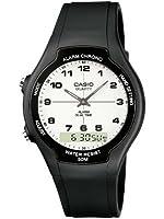 Casio - AW-90H-7BVES - Collection - Montre Homme - Quartz Analogique - Digital - Cadran Blanc - Bracelet Résine Noir