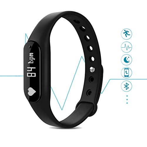 Kissral Wireless Activity Wristband Fitness Tracker Compatible with Android and IOS Smartphones,Bluetooth 4.0,Black