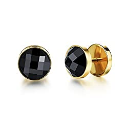 Yellow Chimes Black Crystal Stud Earrings for Boys and Men