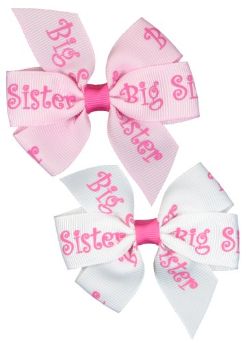 """Hip Girl Boutique 2pc Small 3"""" Big Sister Grosgrain Ribbon Pinwheel Hair Bow Alligator Clips, White and Pink-One Size"""