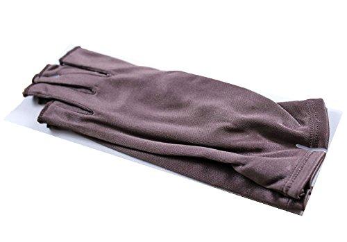 SILK 100% シルク フィンガーレス 手袋 スキンケア グローブ スマホ PC キーボード 操作にも便利 ブラウン
