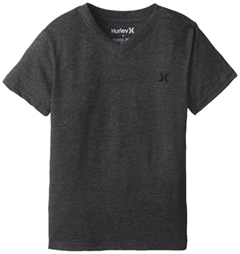 Hurley Little Boys' Icon Premium V-Neck Loose Fit Tee, Black Heather, 7 front-544636