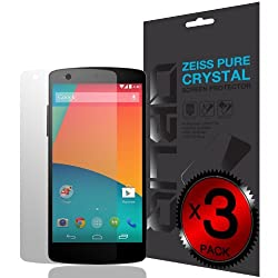 [Pure Crystal] - Obliq LG Google Nexus 5 Screen Protector Zeiss Pure Series - Premium Japanese Film - Lifetime Replacement - 3 Pack - Verizon, AT&T, T-Mobile, Sprint, International, and Unlocked - LG Google Nexus 5 D820 2014 Model