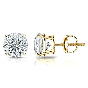 IGI Certified 14k Yellow Gold Round Diamond Stud Earrings 4-Prong Basket-Screw Backs (2 cttw, G-H Color, SI1-SI2 Clarity)