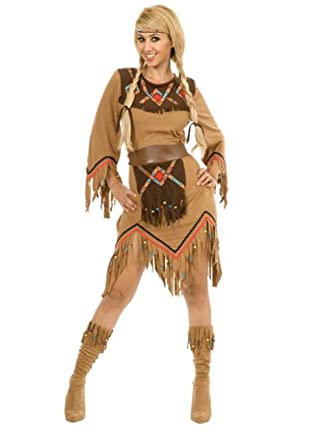 Charades Women's Sacajawea Indian Maiden Costume Set, Tan, Small