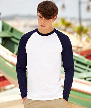 Mens Fruit of the Loom Long-Sleeve Baseball T Shirt, Mens Cotton Vest 5 Colours
