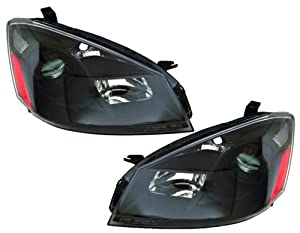 Nissan Altima Replacement Headlight Assembly (Euro Projector Type, Halogen, Black) - 1-Pair
