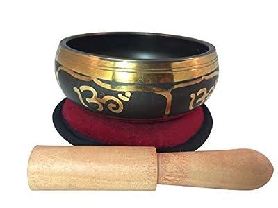 Hände von Tibet tibetischen Yoga Hindu Om Klangschale mit Om Kissen bestickt Kunstseide Holzhammer