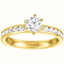 buy 0.92 Ct. Cz Channel Set Classic Engagement Ring In Yellow Silver (0.92 Ct. Twt.)