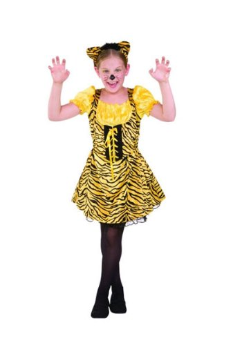 Sassy Tiger Lace Up Dress With Outer Skirt And Attached Tail , Headband