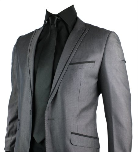 Mens Slim Fit Suit Grey Shiny 1 Button Stitch Black Trim Work Party Wedding Suit