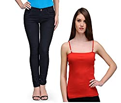 Oleva Womens combo set of 2 (denim Black jeans and Red spaghetti ) ONC-13_28