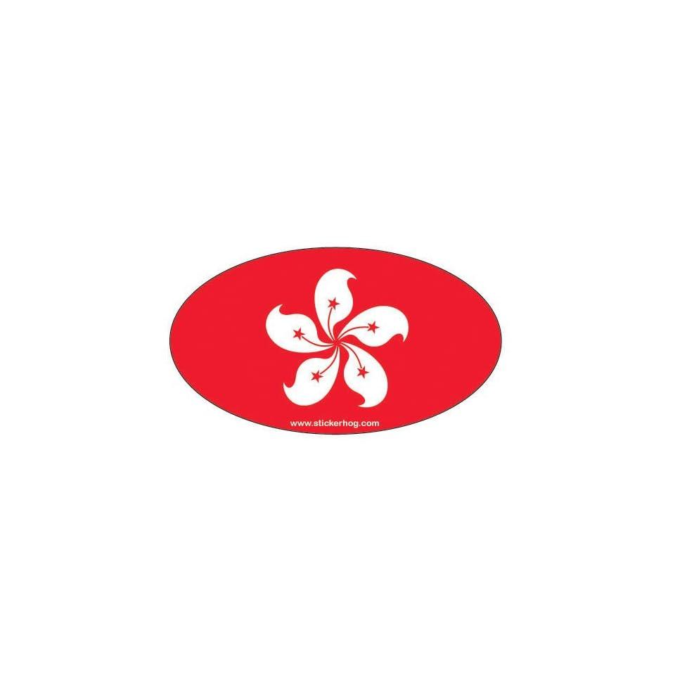 Hong Kong Country Flag Euro Oval bumper sticker decal
