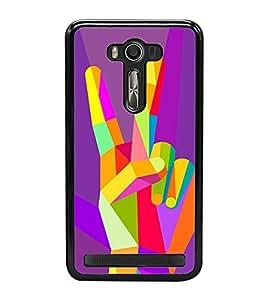 Colourful Victory Sign 2D Hard Polycarbonate Designer Back Case Cover for Asus Zenfone Selfie ZD551KL