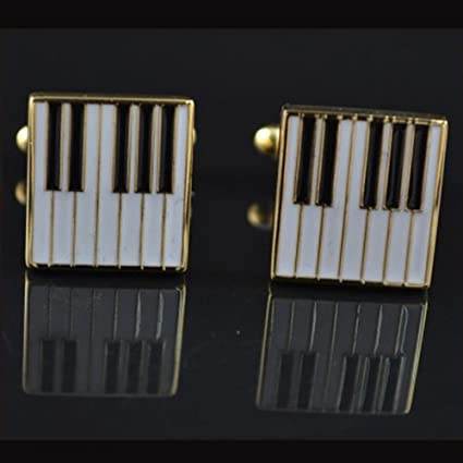 Piano Black And White White Gold Piano Keys Cuff