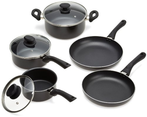 Ecolution Artistry PFOA Free Non-Stick 8-Piece Cookware Set - Heavy-Gauge Aluminum w/ Soft Silicone Handles - Black