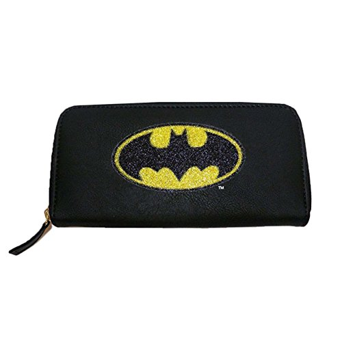 Official Black and Yellow Classic Batman Glitter Logo Clutch Purse Wallet