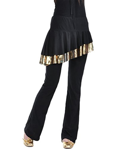 AveryDance Belly Dance Gold Skirt Hem Cotton Latin Dance Skirt Pant Costume
