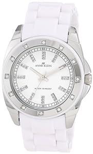 Anne Klein Women's 109179WTWT Silver-Tone Swarovski Crystal Accented White Plastic Watch