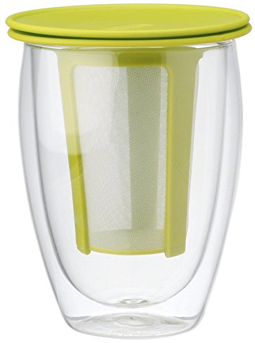 Bodum Tea For One Double 0.35-Liter Wall Glass Tea Strainer, 12-Ounce, Green