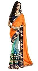 My Fashion Women's Georgette Saree(MFA-8002_Multicolour_Free Size)