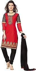 Sinina Women's Cotton Unstitched Dress Material (RH21PK3_Red_Free Size)