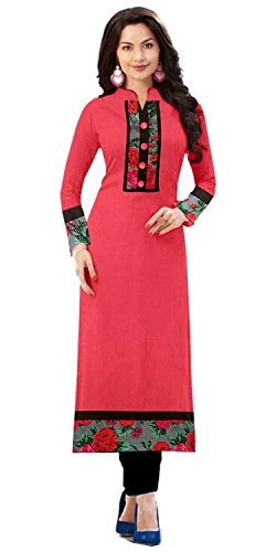 Yashvi Arts Women\'s New Fashion Designer Fancy Wear Collection Low Price Todays Best Special Deal Offer All Type Of Modern Cotton Pink Straight Kurti