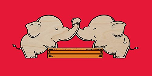 """""""Trunk Wrestling"""" Funny Cute Elephants Playing - Plywood Wood Print Poster Wall Art front-605165"""