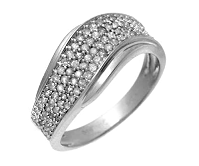 Ariel 9ct White Gold 050ct Diamond Half Eternity Wave Ring