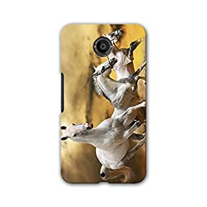 ArtzFolio White Horses : Google Nexus 6 Matte Polycarbonate Original Branded Mobile Cell Phone Designer Hard Shockproof Protective Back Case Cover Protector
