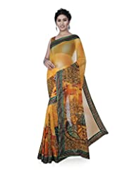Aadarshini Women's Faux Georgette Saree (1055, Yellow And Green)