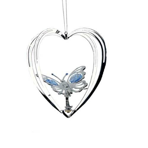 Chrome Plated Butterfly Heart Ornament – Green – Swarovski Crystal
