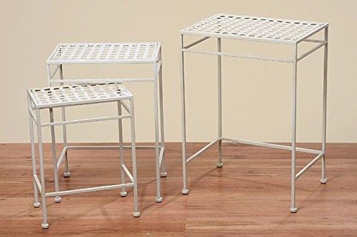 Beistelltisch Tisch Fugo weiß eckig L35cm Eisentisch Gartentisch Pflanztisch