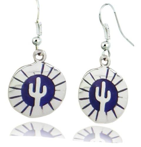 ArtCamp Fair Trade Alpaca Silver & Blue Hopi Inlaid Tribal Cactus Dangle Earrings