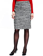 M&S Collection New Wool Blend Houndstooth Pencil Skirt with Mohair [T57-4808-S]