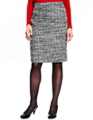 M&S Collection New Wool Blend Houndstooth Pencil Skirt with Mohair